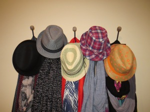 Hat and scarf rack downstairs.